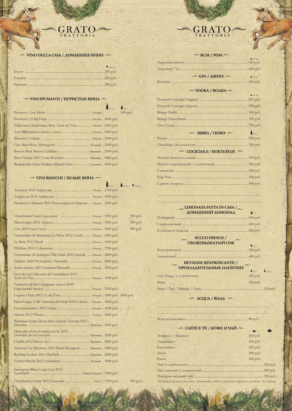 "Меню ресторана Траттория ""Grato"" (Grato Group) (Грато) на Московском проспекте"