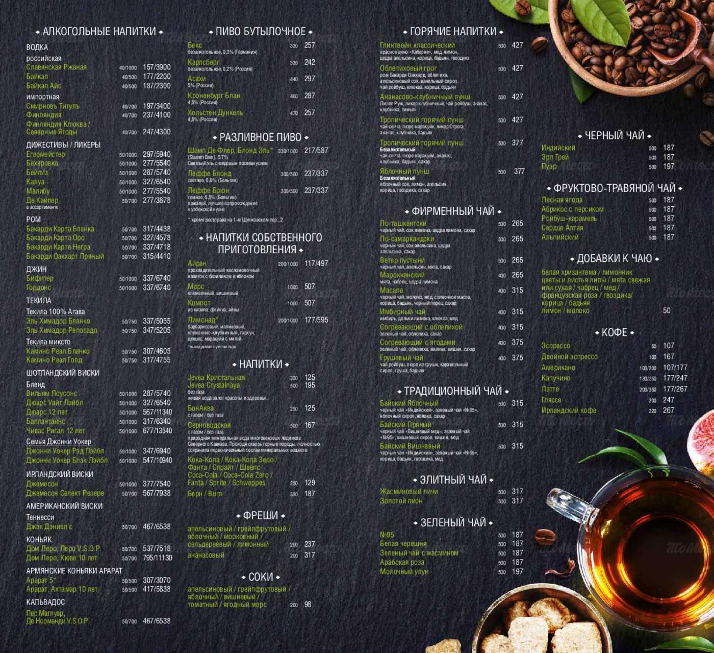 Меню ресторана Сандык на улице Перерва