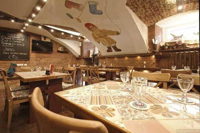 Меню ресторана Валенки и Варежка (Valenki & Varezhka) на набережной реки Мойки