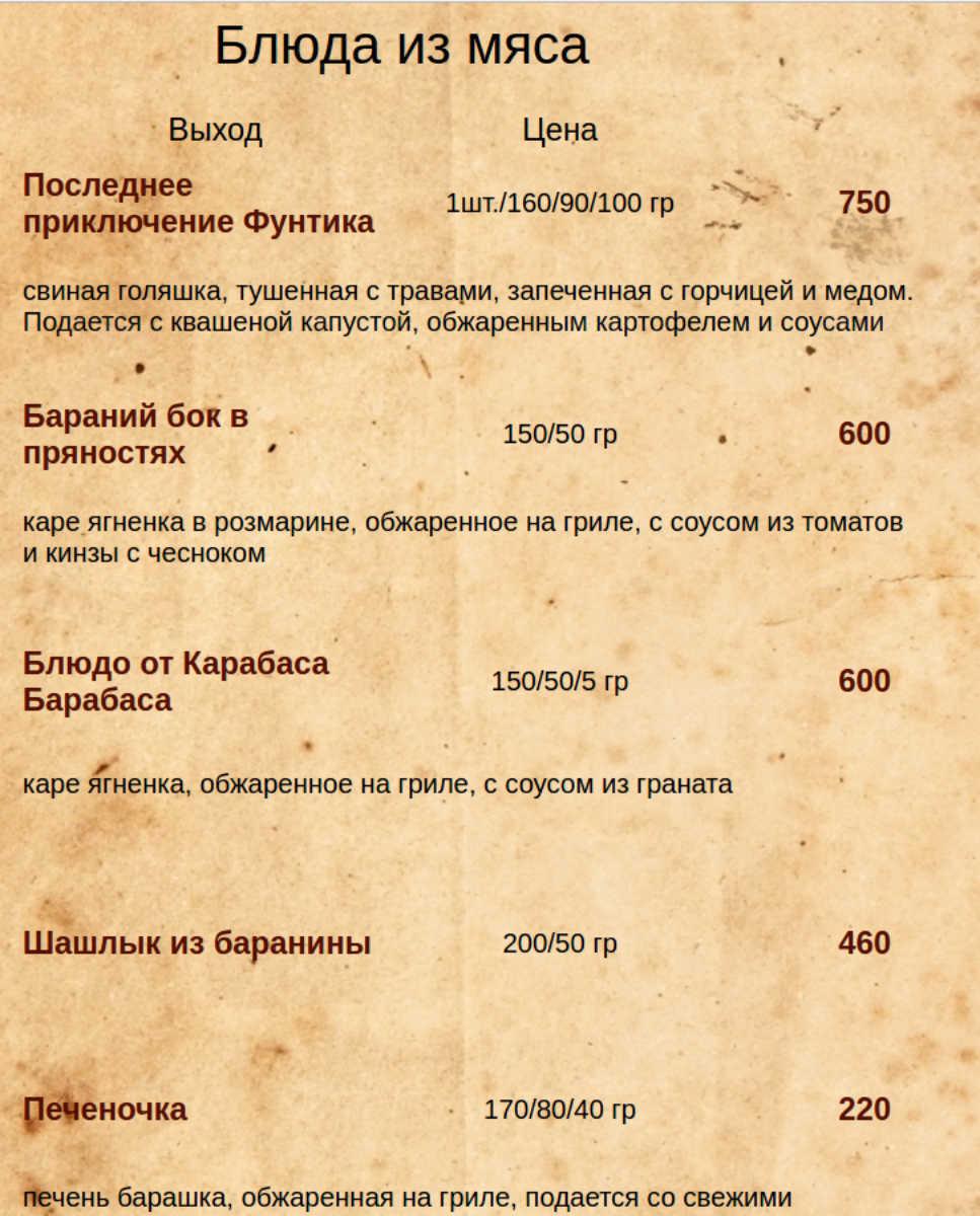 Меню кафе Длинный нос на улице Крисановой