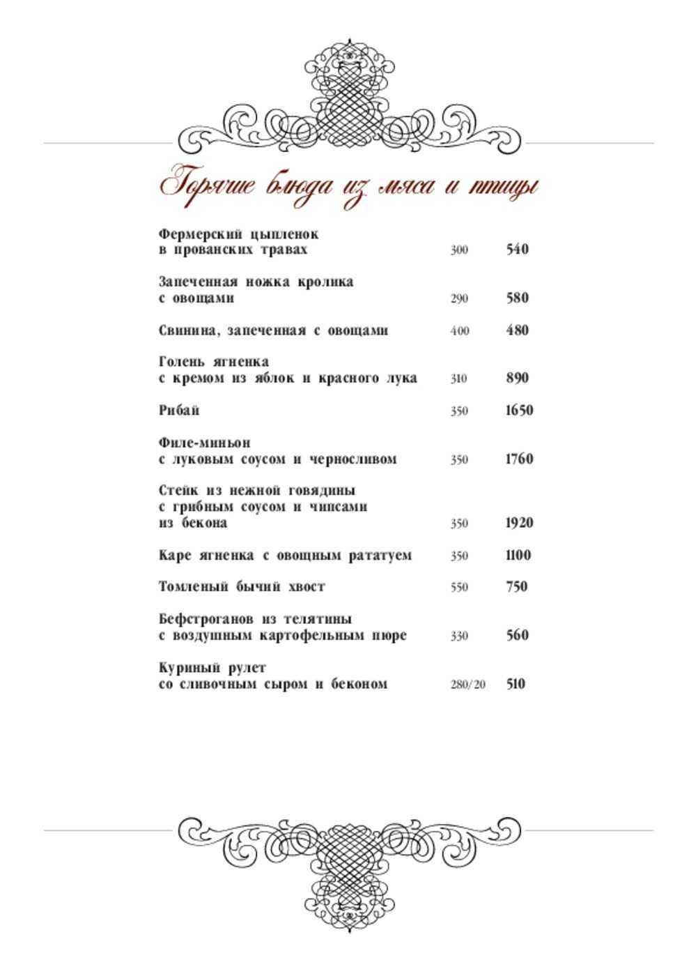 Меню ресторана Почта на улице Республики