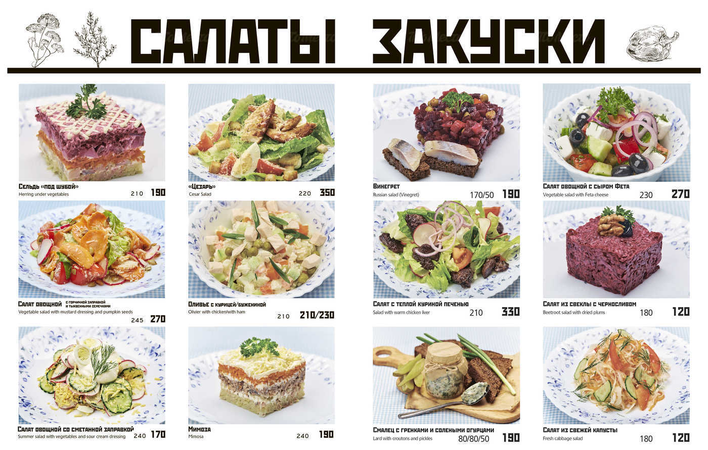 Меню кафе, ресторана Вареничная №1 на Лиговском проспекте